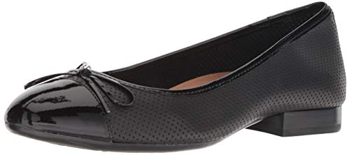 Aerosoles Women's Outrun Ballet Flat, Black Leather, 9.5 M US