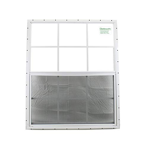 30 x 36 Shed Window White- J Safety Glass Garage Barn Storage Shed Coops Playhouse Tree H