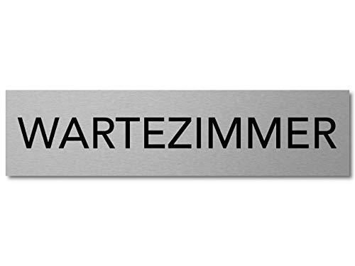 Interluxe Türschild Wartezimmer 200x50x3mm, Schild aus Aluminium, selbstklebendes Hinweisschild modern
