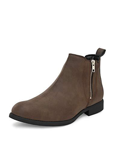 HiREL'S Men's Brown PU Outdoor Chelsea Boots