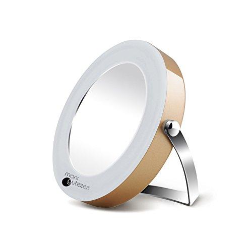 Specchio Make-up, specchio cosmetico con illuminazione LED di Moni Gutezeit, ingrandimento 3 volte tanto, funzionamento a batteria, portabilel, ø 7 cm, colore: champagne