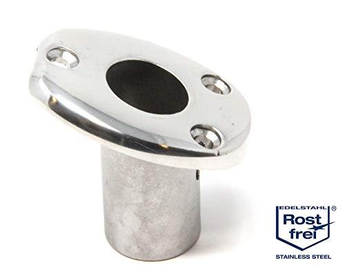 Mareteam® Flaggenstockhalter Edelstahl poliert ovale Form für Flaggenstock Ø 25 mm