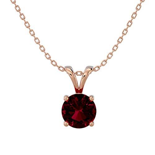 VVS Gems - Collar con colgante de solitario de oro de 18 quilates, corte redondo de 0,25 quilates, para mujer, piedra natal