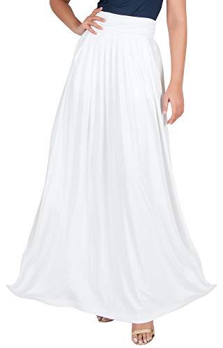 KOH KOH Petite Womens Long Flowy Cute Modest High Empire Waist Full Floor Length Pockets Casual Formal Vintage Slimming Work Wear Office Tall Maxi Skirt Skirts Ivory White XS 2-4