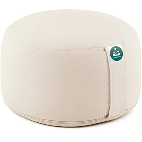 Present Mind Cojines Redondos de Yoga Extra Altos (20 cm) - Beige Claro - Zafu de Yoga – Cojín de Suelo Alto para Yoga y Meditación – Yoga Accesorios Hechos en la UE – Funda Lavable - 100% Natural