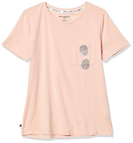 Karl Lagerfeld Paris Damen Sequin Sunglass Pocket Tee T-Shirt, Schwarz/Silber6, Klein