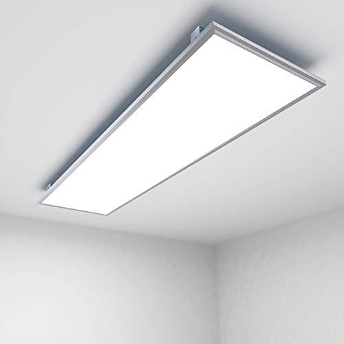 OUBO LED Panel Deckenleuchte 120x30cm Neutralweiß / 48W / 4600lm / 4000K / Silberrahmen Lampe dünn SLIM Ultraslim Deckenleuchte Wandleuchte, inkl. Trafo