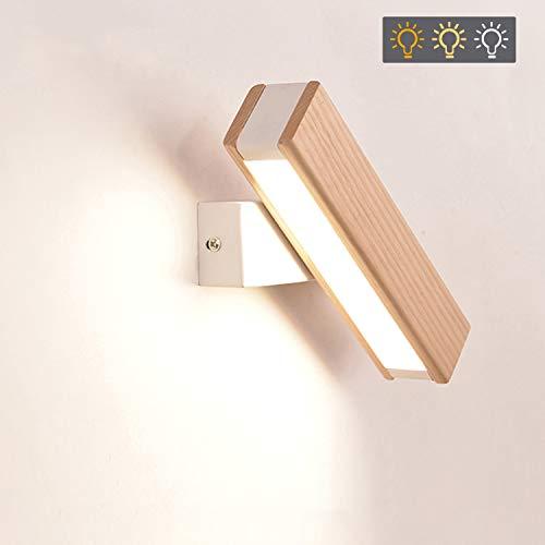 GBLY LED Wandleuchte Holz 360°Schwenkbar Wandlampe 4W Flurlampe Bettlampe, Warmweiß/Neutralweiß/Kaltweiß 3 in 1 umschaltbar, 21CM für Wohnzimmer Schlafzimer Flur Treppenhaus
