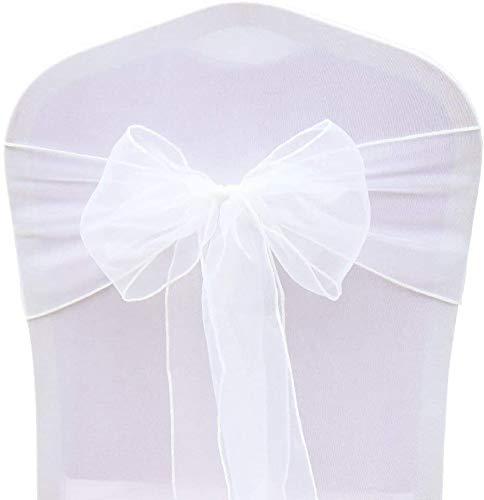 BIT.FLY 50PCS Rubans en Organza Housse de Chaise Nœuds Rubans Nœuds de Mariage Décoration de Ceremonie Fête Anniversaire 18 x 275cm(Blanc)