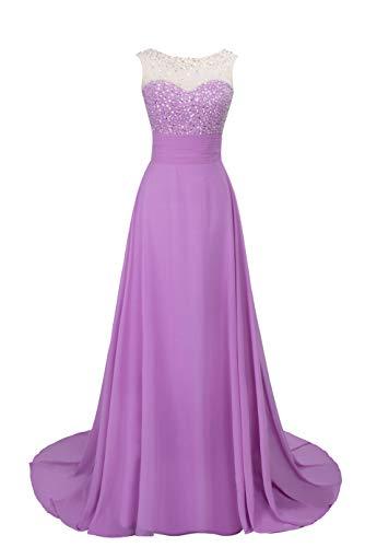 MisShow Damen Ballkleider Abendkleider Hochzeitskleid Abiballkleider Chiffon Rueckseitfrei Kleider Lavender Gr.36