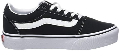 Vans Ward Platform Canvas Zapatillas Mujer, Negro (Canvas) Black/White 187), 37 EU (4.5 UK)