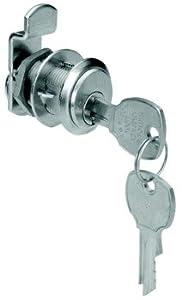 Cabinet Drawer Cam Lock  Keyed Alike  Flush Mount  National Lock - High Security Brushed Chrome  Key #107