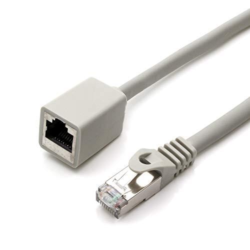 1aTTack.de 677606 CAT7 Cat.7 Verlängerung Adapter - 1m - Ethernetkabel Lankabel Netzwerkkabel 10 Gb/s Rohkabel mit (RJ45) Cat6a Stecker Buchse 1 Stück - grau