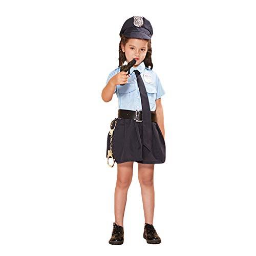 NUOBESTY Polizist Kind Kostüm Polizistin Kinder Outfit Requisiten Xs