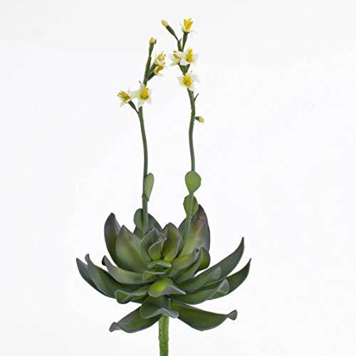 artplants - Aeonium Artificial en Vara de Ajuste, Flores Amarillas, 30 cm - Planta Decorativa/Suculenta sintética