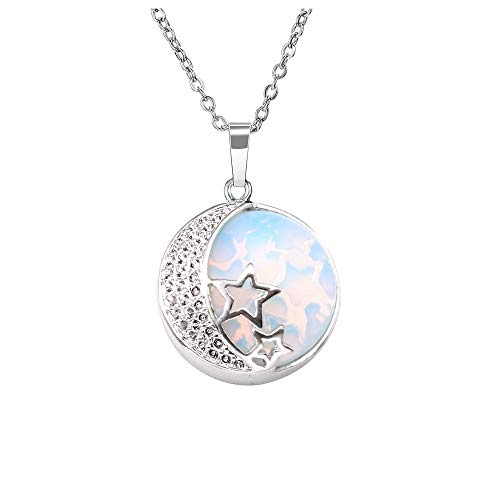 Jovivi Natural Gemstones Moon and Star Opalite Healing Crystal Chakra Pendant Necklace with 21.5in Stainless Steel Chain