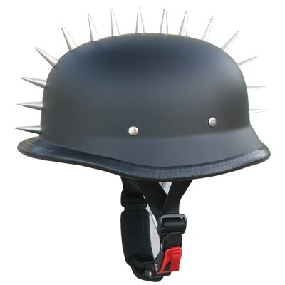 Low Profile German Style Half Face Helmet Novelty Spikes N118 Flat Black