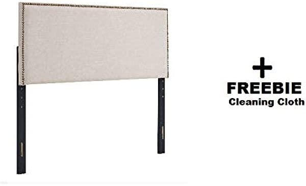 Premium Upholstery Grade Fabric Headboard W Nailheads Twin Beige FREEBIE