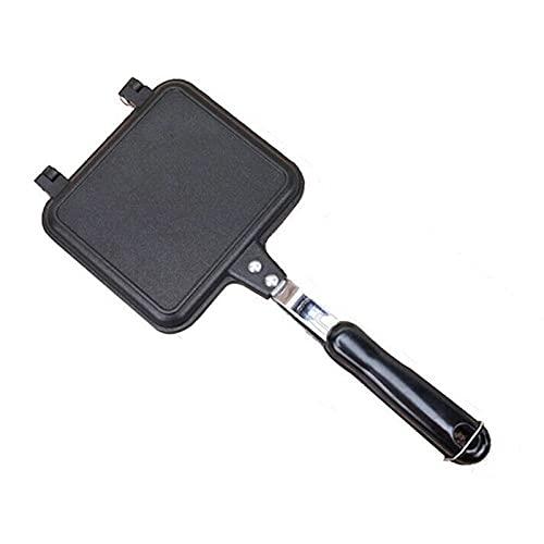 Multifunción Non-Stick Sandwich Maker Hierro Pan Tostado Desayuno Panqueque Panillera Pan horno Máquina para hornear Máquina Barbacoa Freír Molde Waffle (Color : Black)