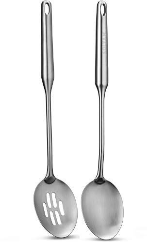 2 Piece Stainless Steel Cooking Utensil Set includes Solid/Slotted Serving Spoon - Will Last Your Kitchen a Lifetime, Guaranteed - Meticulous Craftsmanship, Sleek Modern Design, Exceptional Quality.