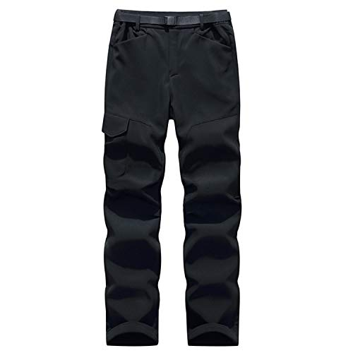 Freiesoldaten - Pantaloni invernali da uomo, foderati in pile antivento, con tasche multiple, da trekking, tattico militare, con cintura (XL, nero)