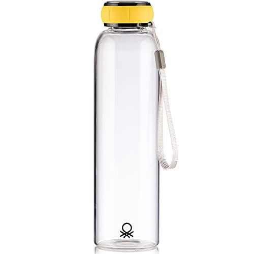 UNITED COLORS OF BENETTON. Botella de Agua 550ml borosilicato Tapa Amarilla Casa Benetton, 550 ml