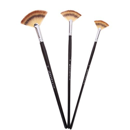 FENICAL Wooden Artist Fan Paiting Brush Set for Oil Acrylic Paint Pack of 3pcs