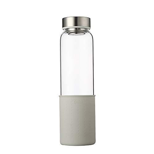 sunkey Botella Agua Cristal 1 Litro de Claro y Reutilizable Borosilicato Vidrio con Funda Silicona Bpa Free