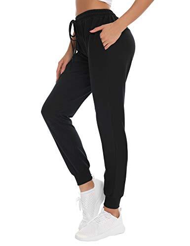 NewPI Pantalones Deportivos Mujer Pantalon Jogging Largos 100% Algodón Primavera Verano Pantalón de Chándal con Bolsilpara Running,Yoga,Fitness,Pilates,Jogger. (Negro-2, M)