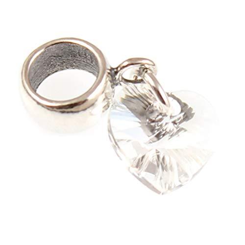 Broche de plata de ley Corazón de cristal pendientes largos con forma...