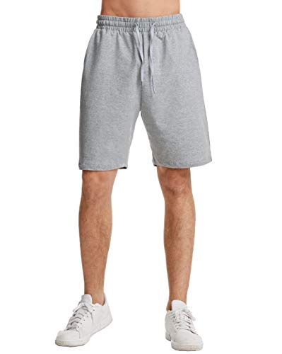 THE GYM PEOPLE Men's Lounge Shorts with Deep Pockets Loose-fit Cotton Jersey Shorts for Running,Workout,Training, Basketball (605 Grey, Large)