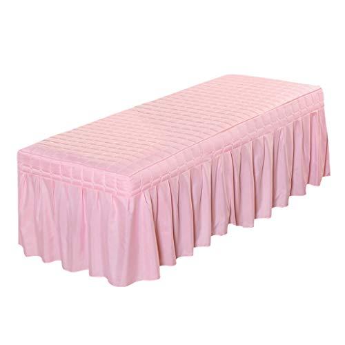 Homyl Laken Auflage Bezug Bettrock Tischrock mit Loch für Massageliege Massagetisch Behandlungsliege - Rosa-190 x 70 cm
