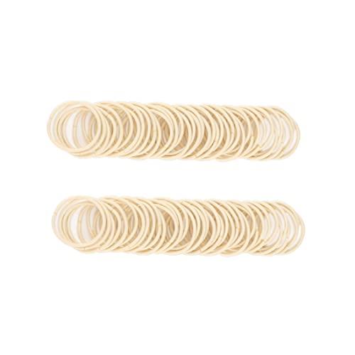 100pcs Baby Hair Ties Small Elastic Toddler Hair Ties Seamless Hair Bands Ponytail Holders for Kids Girls(2 mm x 2.5 cm,Beige Blonde)