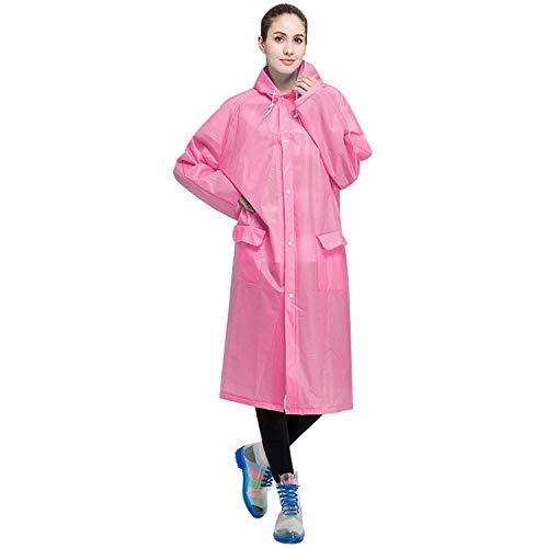 XINGRUI Rain Gear Supplies Mode pour Adultes Léger EVA imperméable Transparent Grand Chapeau à Capuchon avec Taille de Poche: L (Rose) (Color : Pink )