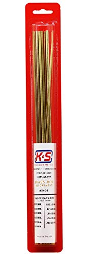 K & S Precision Metals 3405 Round Brass Rod, Diameters .020, 1/32, 3/64, 1/16, 3/32, 1/8, 5/32, 3/16.114.081.072, 11 Pieces per Pack, Made in The USA
