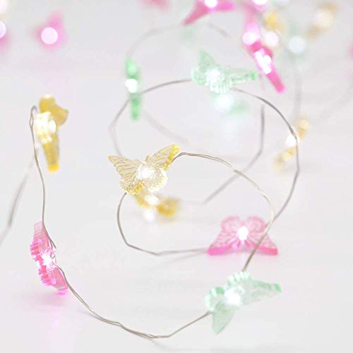 MENGNAN Butterfly String Lights Wedding Lights 10feet 40LEDs Battery Operated with Remote for Indoor Outdoor Birthday Parties Home Girl Bedroom Decoration