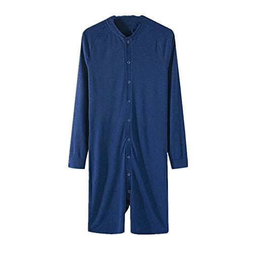 Hombres Onesies Mameluco De Manga Larga Hombre Pantalones Cortos Mono, azul, XXXXXL
