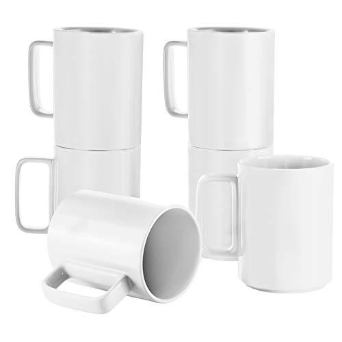 Porcelain Tea Mugs Coffee Mug Set, Large 16 Ounces Cups for Coffee, Tea, Cocoa, and Mulled Drinks, Set of 6, White