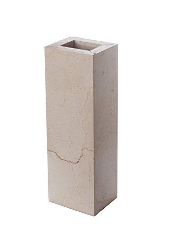 Vase design en grès massif, pierre naturelle, couleur beige, rectangulaire, dimensions : 24 x 10 x 8 cm, poids : env. 2,5 kg