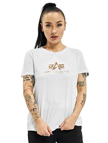 ALPHA INDUSTRIES Damen T-Shirts New Basic Foil Print weiß S