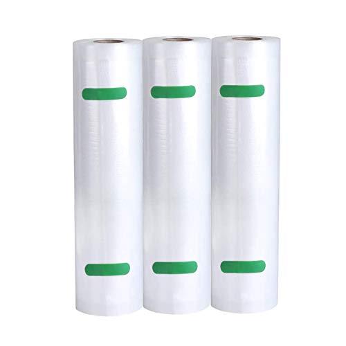 WonderTech Vakuumierbeutel, 3 Rollen 28x600cm Vakuumrollen Profi Vakuumierfolie für alle Vakuumiergeräte, Wiederverwendbar, BPA-Frei