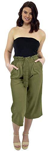 CityComfort Pantalones de Lino para el Verano, 3/4 de Longitud | Pantalón de Traje de Fiesta para Mujeres | Cintura Alta a la Moda con Lazo y Pliegues | Tamaños Variados (40, Caqui)