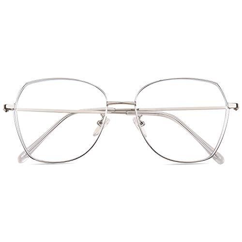 ROSA&ROSE Blaulichtfilter Brillen Computer Gaming Brillen Anti Müdigkeit Lesebrille für Herren Damen – UV Schutz (Silber)