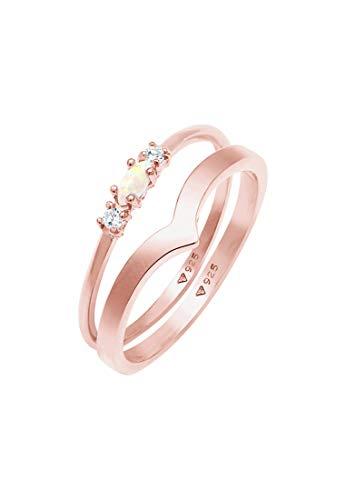 Elli Anillos Conjunto de anillos para mujer con ópalo y circonitas en plata esterlina 925