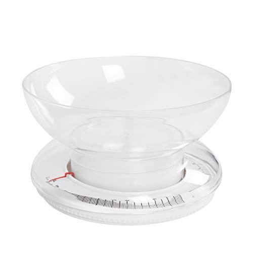 Salter Balance de Cuisine mécanique traditionnelle avec bol jusqu'à 3 kg - Compacte et facile à lire - Garantie 15 ans - Blanc