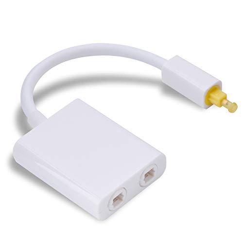 Toslink - Cable de audio óptico digital, adaptador, 2 en 1, doble puerto blanco