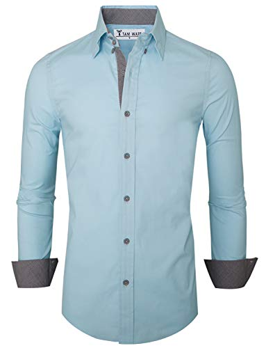 TAM WARE Mens Premium Casual Inner Contrast Dress Shirt TWNMS314S-SKYBLUE-US XL