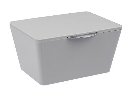 Wenko Aufbewahrungsbox mit Deckel Brasil, Aufbewahrungskorb für das Badezimmer, Badkorb aus bruchsicherem Kunststoff, 19 x 10 x 15,5 cm, grau