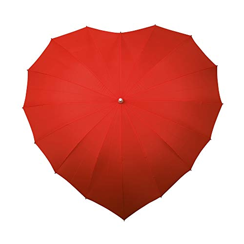 Falcone Parapluie Droit - Toile en Forme de Coeur Rouge Regenschirm, 80 cm, Rot (Rouge)