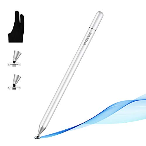 Stylus Penna,WOEOA Penna Touch Pennino Tablet Penna per ipad Tablet Punta Fine Universale con Artist Guanto per iPad,iphone,Smartphone ,Touchscreen e Tablet (bianca)